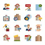 Real Estate Icons Set. Real estate property rent and sale icons set isolated vector illustration Stock Images