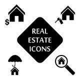 Real estate icons set. Vector illustration. Real estate icons set. Silhouette vector illustration Royalty Free Stock Photo