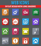 Real estate icons set. Real estate web icons in flat design with long shadows Royalty Free Stock Photography