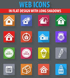 Real estate icons set. Real estate web icons in flat design with long shadows Stock Images