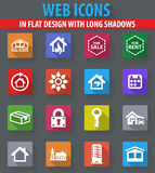 Real estate icons set. Real estate web icons in flat design with long shadows Stock Photo