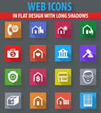 Real estate icons set. Real estate web icons in flat design with long shadows Stock Image