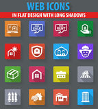 Real estate icons set. Real estate web icons in flat design with long shadows Royalty Free Stock Photos