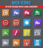 Real estate icons set. Real estate web icons in flat design with long shadows Stock Photos