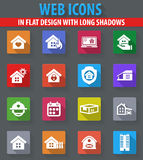 Real estate icons set. Real estate web icons in flat design with long shadows Stock Photography