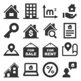 Real Estate Icons Set on White Background. Vector vector illustration