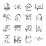 Real Estate icons on the white background deal, money box, search, realtor, ecologic home and other. Icons set with  strok. E. EPS 10 Stock Image
