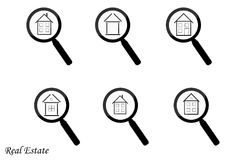 Real Estate Icons on White Background. Stock vector illustration Stock Photos