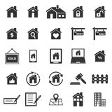 Real estate icons on white background Royalty Free Stock Image