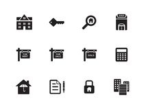 Real Estate icons on white background. Stock Photos