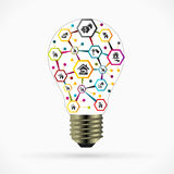 Real estate idea. Concept illustration with house network inside light bulb Stock Photography