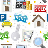 Real Estate ikon Bezszwowy wzór ilustracji