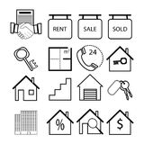 Real Estate-Ikonen auf weißem Hintergrund Stockfotos