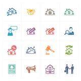 Real Estate-Ikonen - farbige Reihe Lizenzfreies Stockbild