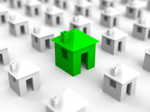 Real estate illustration. With many white houses and bigger green in the middle. Selective focus royalty free illustration