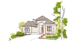 Real Estate Illustration. House Painting Sketch on White Background. Royalty Free Stock Photography