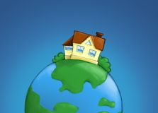 Real estate illustration - house on the planet Stock Photo