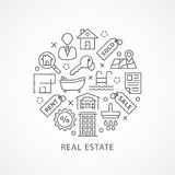 Real Estate illustration with icons in linear style Stock Images