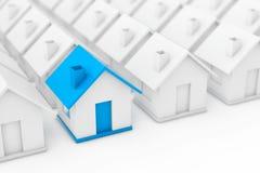 Real Estate-Immobiliensektor-Konzept Blaues Haus herein unter Weiß stock abbildung