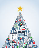 Real estate industry icons Christmas Tree Royalty Free Stock Photo