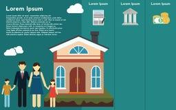 Real Estate infographic mall och beståndsdelar Mallen inkluderar illustrationer av familjen och huset med symboler Modern minimal Fotografering för Bildbyråer