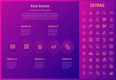 Real estate infographic template, elements, icons. Real estate options infographic template, elements and icons. Infograph includes line icon set with real Royalty Free Stock Photography