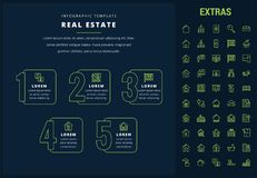 Real estate infographic template, elements, icons. Real estate options infographic template, elements and icons. Infograph includes line icon set with real Stock Images