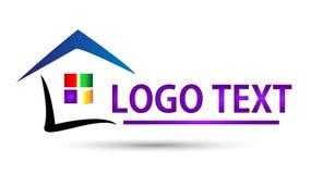 Real Estate inhyser eller den hem- logodesignen Arkivfoto