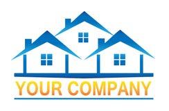 Real Estate inhyser logosymbolen för företag Arkivfoto