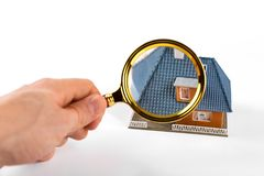 Real estate inspection and valuation concept. On white Stock Photography