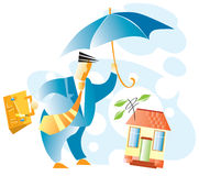 Real estate insurance. The businessman holds an umbrella over a building Stock Photos