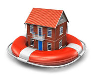 Real estate insurance concept. Residential house in red lifesaver belt isolated on white background Stock Photos