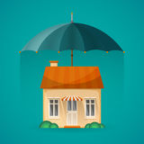 Real estate insurance concept with umbrella in flat style Stock Photography
