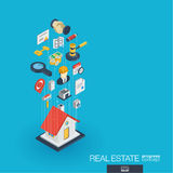 Real estate integrated 3d web icons. Growth and progress concept Royalty Free Stock Photos