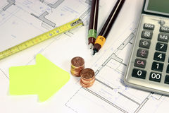 Real estate investing evaluetion. Office situation plannning investment and building project stock image