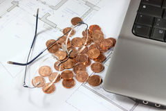 Real estate investing evaluetion. Office situation plannning investment and building project royalty free stock images