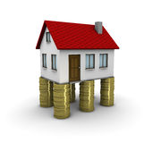 Real estate investment. 3d house on piles of coins stock illustration