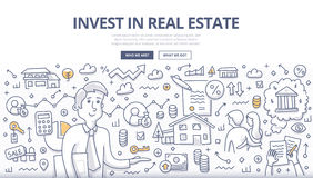 Real Estate Investment Doodle Concept. Doodle  illustration of buying, renting property. Concept of real estate investment for web banners, hero images, printed Stock Images