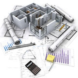 Real Estate investment. Office building with open interior on top of blueprints, documents and mortgage calculations royalty free stock photos