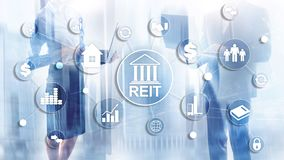 Real Estate Investment Trust REIT on double exsposure business background.  vector illustration