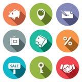 Real Estate-inzameling van het Overeenkomsten de vlakke pictogram Royalty-vrije Stock Afbeeldingen
