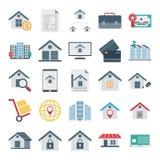 Real Estate isoleerde Vectorpictogrammen zeer in voor Landgoed en het bezit bestaat met aktentas, fabriek, bagage, de bouw, royalty-vrije illustratie