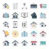 Real Estate isoleerde Vectorpictogrammen zeer in voor Landgoed en het bezit bestaat met aktentas, fabriek, bagage, de bouw, stock illustratie