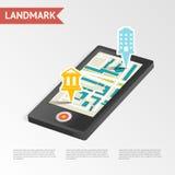Real Estate-Isometrisch Oriëntatiepunt Mobiel Apparaat Stock Fotografie