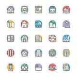 Real Estate kalla vektorsymboler 1 Arkivbilder