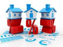 Real Estate-Konzept, -haus und -prozentsatz auf weißem Hintergrund 3d übertragen Stockfoto