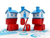 Real Estate-Konzept, -haus und -prozentsatz auf weißem Hintergrund 3d übertragen Lizenzfreies Stockbild