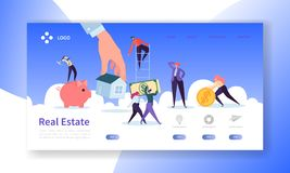 Real Estate Landing Page. Investment in Property Banner with Flat People Characters Buying Apartments Website Template stock illustration