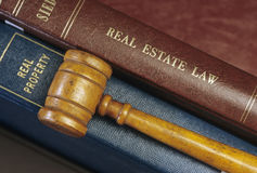 Real Estate Law. Books and Gavel Stock Images