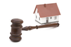 Real estate and laws. Concept with gavel and house royalty free stock image